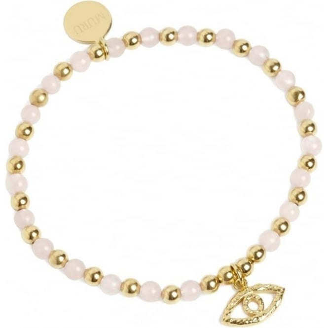 Protection Evil Eye Bracelet Gold Vermeil and Rose Quartz