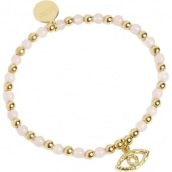 Evil Eye Bracelet Gold Vermeil and Rose Quartz
