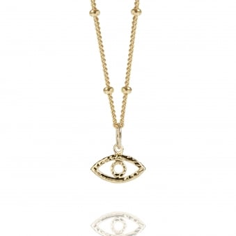Gold Evil Eye Necklace With Bead Chain
