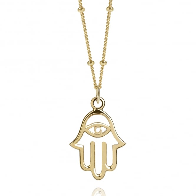 Protection Gold Hamsa Hand Necklace With Bead Chain