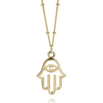 Gold Hamsa Hand Necklace With Bead Chain