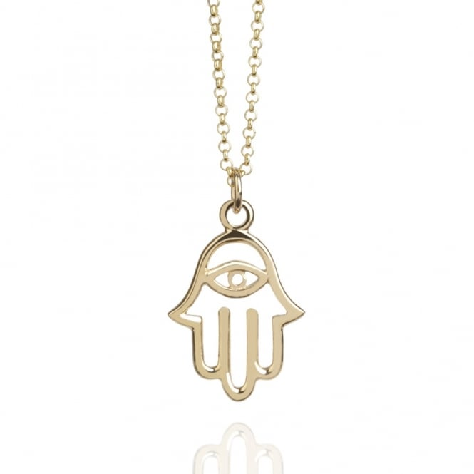 Protection Hamsa Hand Necklace Gold (Long)