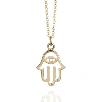 Hamsa Hand Necklace Gold (Long)