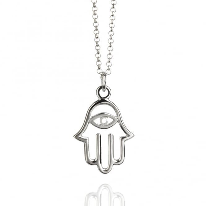PROTECTION Hamsa Hand Necklace Silver (Long)