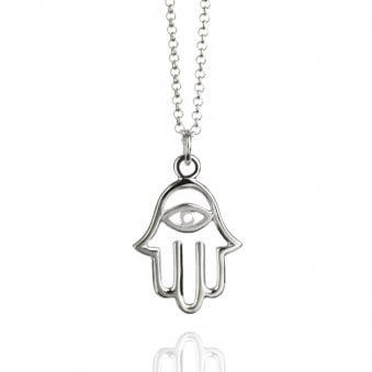 Hamsa Hand Necklace Silver (Long)