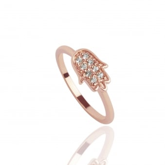 Hamsa Topaz Ring Rose Gold