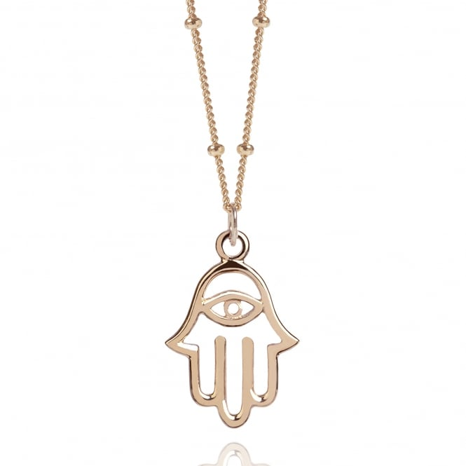 Protection Rose Gold Hamsa Hand Necklace With Bead Chain