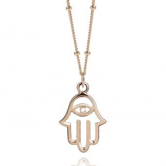Rose Gold Hamsa Hand Necklace With Bead Chain