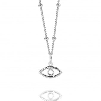Silver Evil Eye Necklace With Bead Chain