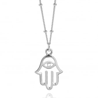 Silver Hamsa Hand Necklace With Bead Chain