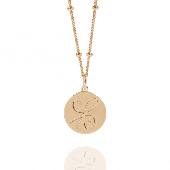 Friendship Rose Gold Coin Necklace With Bead Chain