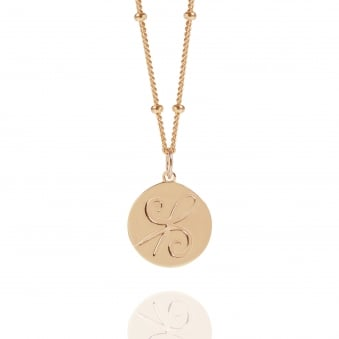 Rose Gold Friendship Coin Necklace With Bead Chain