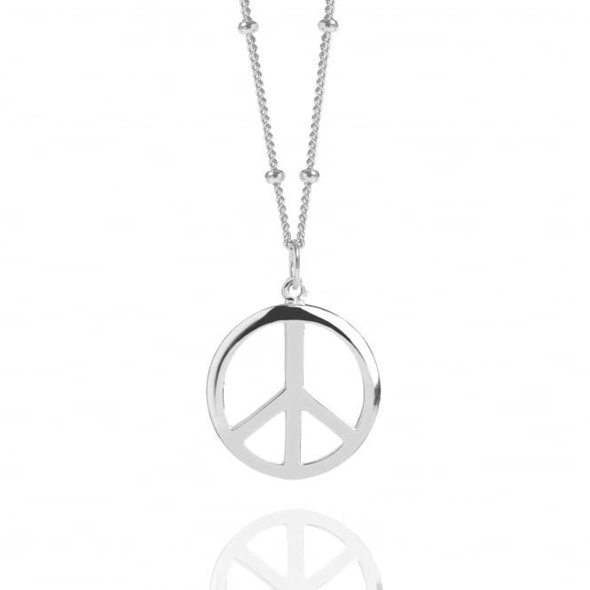 Silver Peace Sign Necklace With Bead Chain