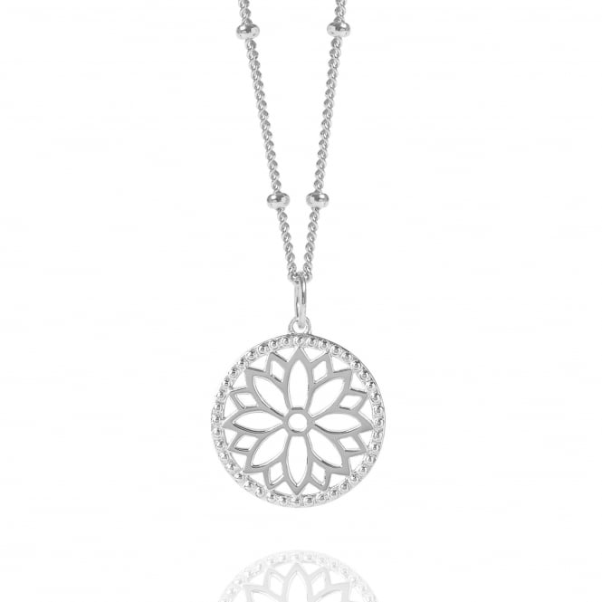 Health & Happiness Silver Purity Mandala Charm Necklace With Beaded Chain