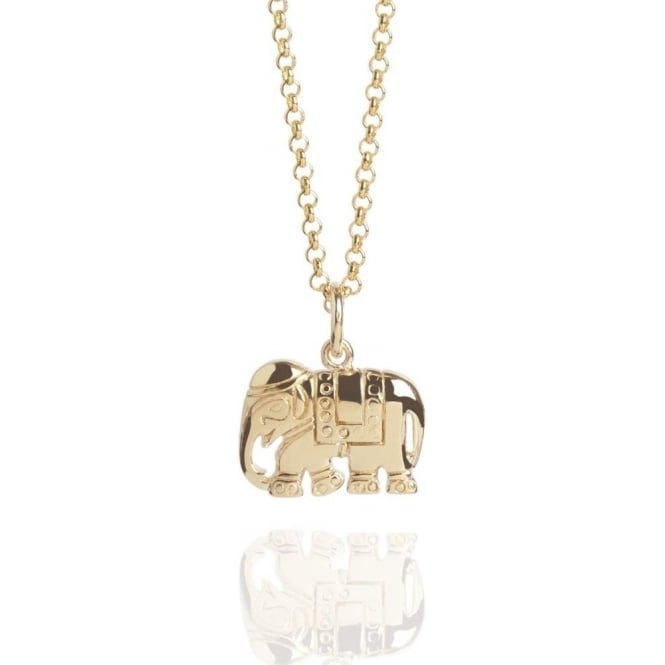 Strength Elephant Charm Necklace Gold