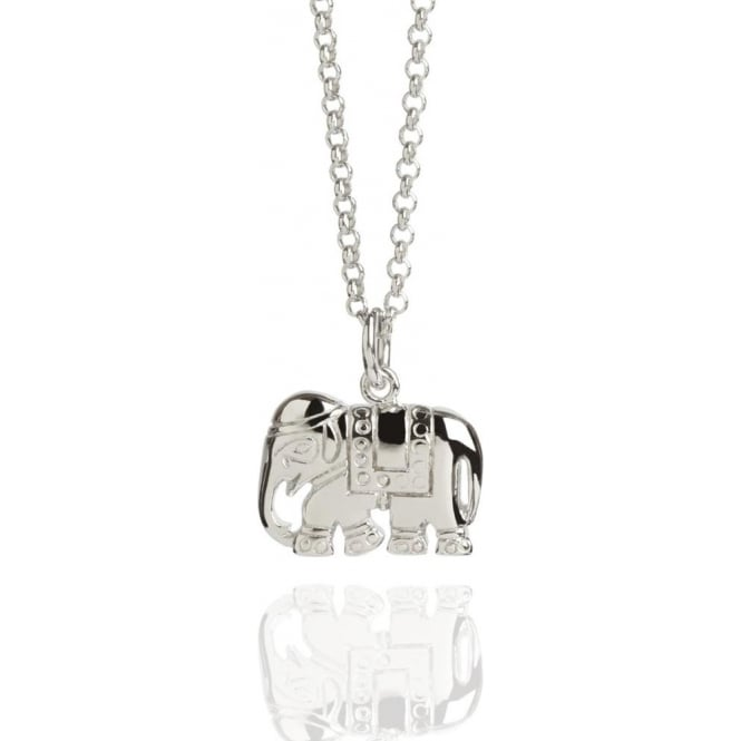Strength Elephant Charm Necklace Silver