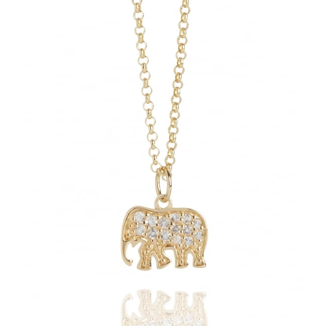 Strength Elephant Topaz Necklace Gold