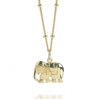 Gold Elephant Charm Necklace With Bead Chain