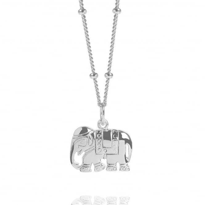 STRENGTH Silver Elephant Charm Necklace With Bead Chain